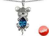 Original Star K™ Large Mouse Pendant With 11x9mm Pear Shape Simulated Blue Topaz style: 308653