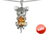 Original Star K™ Large Mouse Pendant With 11x9mm Pear Shape Simulated Imperial Yellow Topaz style: 308654