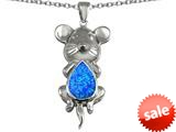 Original Star K™ Large Mouse Pendant With 11x9mm Pear Shape Created Blue Opal style: 308655