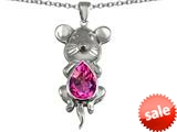 Original Star K™ Large Mouse Pendant With 11x9mm Pear Shape Created Pink Sapphire style: 308656