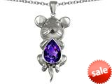 Original Star K™ Large Mouse Pendant With 11x9mm Pear Shape Simulated Amethyst style: 308659