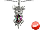 Original Star K™ Large Mouse Pendant With 11x9mm Pear Shape Rainbow Mystic Topaz style: 308660