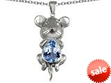 Original Star K™ Large Mouse Pendant With 11x9mm Pear Shape Simulated Aquamarine style: 308661