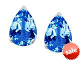 Original Star K™ 8x6mm Pear Shape Genuine Blue Topaz Earrings Studs style: 308686