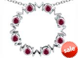 Original Star K™ Large MOM Circle Mother`s pendant with Round Created Ruby style: 308688