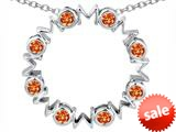Original Star K™ Large MOM Circle Mother`s pendant with Round Simulated Orange Mexican Fire Opal style: 308689