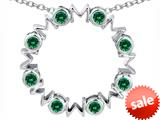 Original Star K™ Large MOM Circle Mother`s pendant with Round Simulated Emerald style: 308690