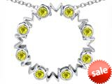 Original Star K™ Large MOM Circle Mother`s pendant with Round Simulated Citrine style: 308691