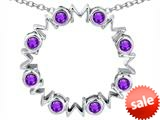 Original Star K™ Large MOM Circle Mother`s pendant with Round Simulated Amethyst style: 308692