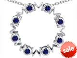 Original Star K™ Large MOM Circle Mother`s pendant with Round Created Sapphire style: 308695