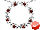 Original Star K™ Large MOM Circle Mother`s pendant with Round Simulated Garnet style: 308698