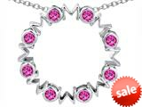 Original Star K™ Large MOM Circle Mother`s pendant with Round Created Pink Sapphire style: 308699