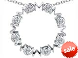 Original Star K™ Large MOM Circle Mother`s pendant with Round Genuine White Topaz style: 308700