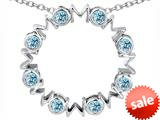 Original Star K™ Large MOM Circle Mother`s pendant with Round Simulated Aquamarine style: 308701