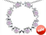 Original Star K™ Large MOM Circle Mother`s pendant with Round Created Pink Opal style: 308704