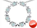 Original Star K™ Large MOM Circle Mother`s pendant with Round Created Opal style: 308705