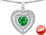 Original Star K™ 6mm Heart Shape Simulated Emerald Heart Pendant style: 308709