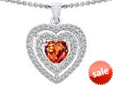 Original Star K™ 6mm Heart Shape Simulated Orange Mexican Fire Opal Heart Pendant style: 308712