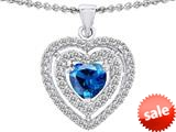 Original Star K™ 6mm Heart Shape Simulated Blue Topaz Heart Pendant style: 308714