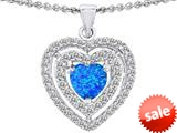 Original Star K™ 6mm Heart Shape Simulated Blue Opal Heart Pendant style: 308716