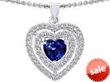 Original Star K™ 6mm Heart Shape Created Sapphire Heart Pendant style: 308717