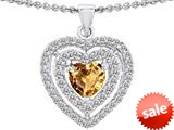 Original Star K™ 6mm Heart Shape Simulated Imperial Yellow Topaz Heart Pendant style: 308718
