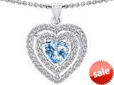 Original Star K™ 6mm Heart Shape Simulated Aquamarine Heart Pendant style: 308720
