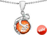 Original Star K™ Frog Pendant With 10mm Simulated Orange Mexican Fire Opal Ball style: 308747