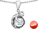 Original Star K™ Frog Pendant With 10mm Simulated White Topaz Ball style: 308749