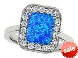 Original Star K™ 10x8mm Emerald Cut Simulated Blue Opal Engagement Ring style: 308751