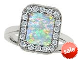 Original Star K™ 10x8mm Emerald Cut Simulated Opal Engagement Ring style: 308752