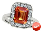 Original Star K™ 10x8mm Emerald Cut Simulated Orange Mexican Fire Opal Engagement Ring style: 308753