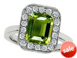 Original Star K™ 10x8mm Emerald Cut Simulated Peridot Engagement Ring style: 308754
