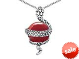 Original Star K™ Large Snake Pendant with 10mm Simulated Red Coral Ball style: 308761