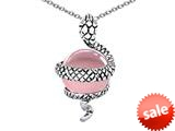 Original Star K™ Large Snake Pendant with 10mm Simulated Pink Sapphire Ball style: 308763