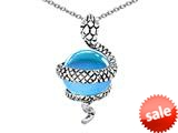 Original Star K™ Large Snake Pendant with 10mm Simulated Aquamarine Ball style: 308765