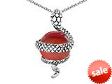 Original Star K™ Large Snake Pendant with 10mm Simulated Garnet Ball style: 308767
