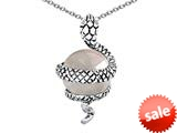Original Star K™ Large Snake Pendant with 10mm Simulated White Topaz Ball style: 308768