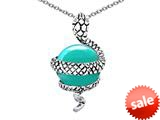 Original Star K™ Large Snake Pendant with 10mm Simulated Turquoise Ball style: 308769