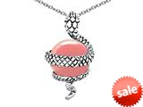 Original Star K™ Large Snake Pendant with 10mm Simulated Pink Coral Ball style: 308770