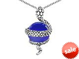 Original Star K™ Large Snake Pendant with 10mm Simulated Sapphire Ball style: 308775