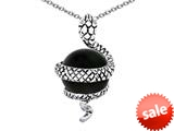 Original Star K™ Large Snake Pendant with 10mm Simulated Black Sapphire Ball style: 308777