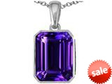Original Star K™ Emerald Cut 10x8mm Simulated Amethyst Pendant style: 308781