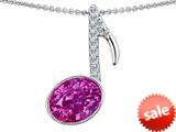 Original Star K™ Musical Note Pendant With Created Pink Sapphire Oval 11x9mm style: 308785