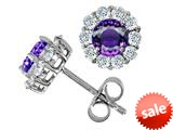 Original Star K™ Round Simulated Amethyst Earrings style: 308786