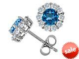 Original Star K™ Round Simulated Blue Topaz Earrings style: 308787