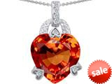 Original Star K™ Large Heart Shape 13mm Simulated Orange Mexican Fire Opal Designer Pendant style: 308791
