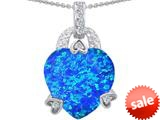 Original Star K™ Large Heart Shape 13mm Simulated Blue Opal Designer Pendant style: 308797
