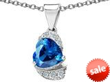 Original Star K™ Heart Shape 8mm Simulated Blue Topaz Love Pendant style: 308800