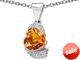 Original Star K™ Heart Shape 8mm Simulated Imperial Yellow Topaz Love Pendant style: 308801